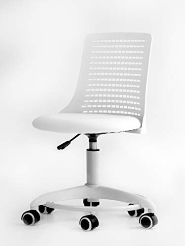 OFFICE FACTOR Kid's Chair- Adjustable Height Kid's Chair- Revolving Chair with Wheels- Breathable Back Chair for Kids - Color White