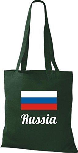 ShirtInStyle Bolso de mano Bolsa de algodón Yute de país Rusia Rusia - fucsia, 38 cm x 42 cm Verde