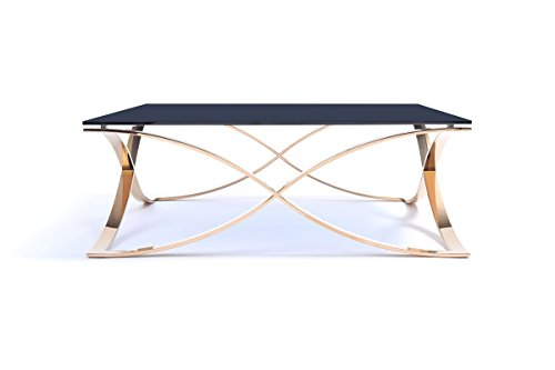 (Limari Home The Esteban Collection Modern Square Smoked Tempered Glass Top & Rose Gold Stainless Steel Metal Base Contemporary Living Room Coffee Table, Black & Gold)