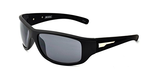 Dickies Men's Wrap Sunglasses, Black Matte Frame, Smoke Flash Mirror Lens, - Dickie Sunglasses