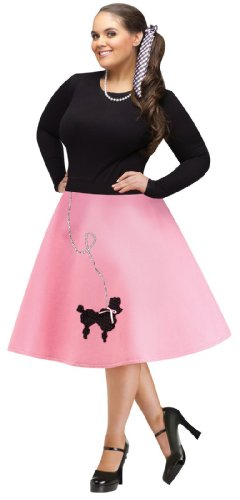 Poodle Costumes For Adults (FunWorld Plus-Size Poodle Skirt, Pink/Black, 16W-24W Costume)