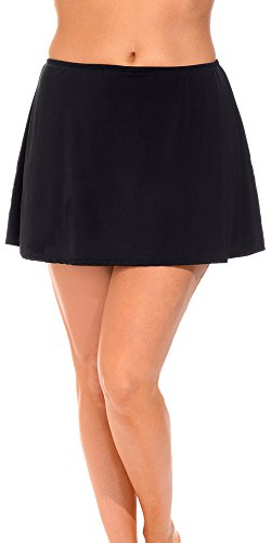 Aquabelle Women's Plus Size Chlorine Resistant Skirt 18 Black