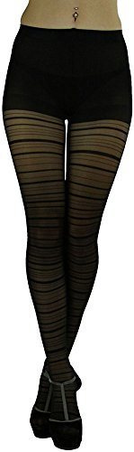 (ToBeInStyle Women's Sheer Horizontal Striped Pantyhose -)