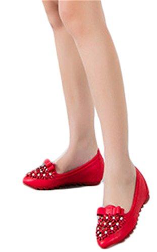 NEWZCERS - Mocasines de Piel para mujer Rojo
