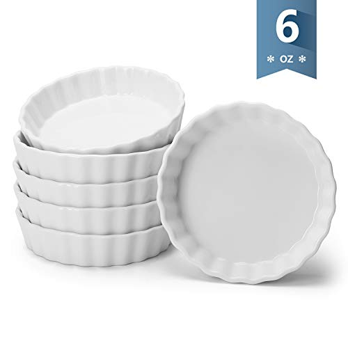 Sweese 509.001 Porcelain Round Ramekins for Baking, 6 Ounce Creme Brulee Dish, Set of 6, White ()