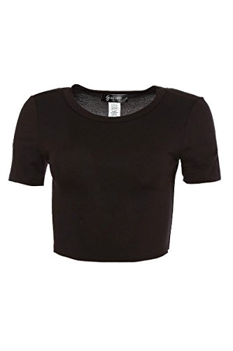 GS LOVE Womens Basic Short Sleeve Scoop Neck Crop Top With Plus Size and Junior Size