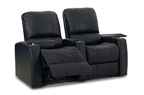 Blaze XL900 Stadium Recliner Chairs - Octane Seating - Black Top-Grain Leather - Memory Foam Manual Recline - Straight Row of 2 Seats