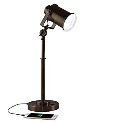 OttLite Restore LED Desk Lamp with 2.1A USB Port, Bronze