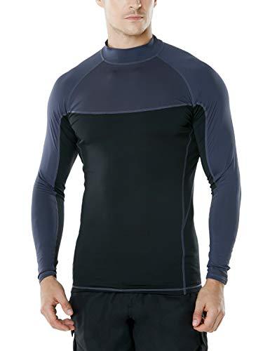 TM-MSR31-KKC_Small TSLA Men's UPF 50+ Long Sleeve Rashguard Surf Athletic Fit MSR31