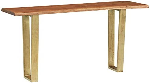 Amazon Brand Stone Beam Garrett Rustic Acacia-Wood Sofa Table with Iron Legs, 60 W, Natural and Brass