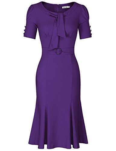 JUESE Women's 50s 60s Formal or Casual Party Pencil Dress (L,Violet)