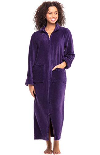 (Alexander Del Rossa Women's Zip Up Fleece Robe, Warm Fitted Bathrobe, 2X Purple (A0307PUR2X))