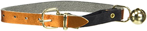 - OmniPet Signature Leather Safety Stretch Cat Collars with Bell, Metallic Apricot, 8-10