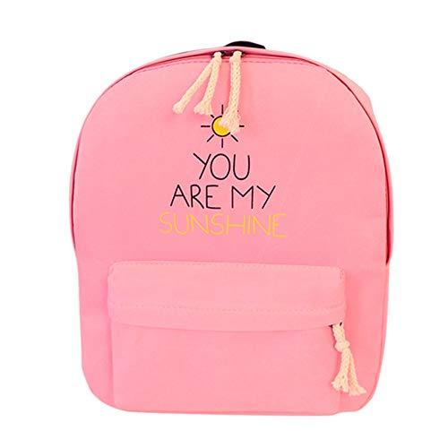 VHVCX Lettre Toile Toile Voyage Dos Sacs Adolescent À Sac Sac Mode Loisirs À Style École Impression Dos Preppy Pink Femmes École rwqCr5U