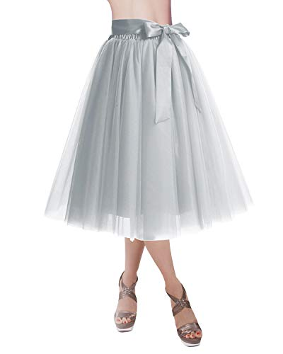 DRESSTELLS Knee Length Tulle Skirt Tutu Skirt Evening Party Gown Prom Formal Skirts Silver S-M