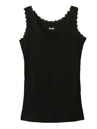 YICHUN verano algodón encaje para hombre sin mangas para Tops depósito de chaleco de Yoga para mujer Negro