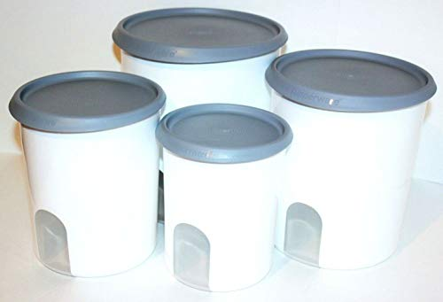 Tupperware 4 Piece Canisters Set One-Touch Seals Reminder Windows Silver Gray Seals