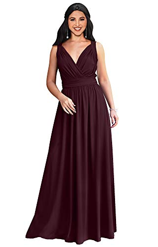 KOH KOH Plus Size Womens Long Sleeveless Flowy Bridesmaids Cocktail Party Evening Formal Sexy Summer Wedding Guest Ball Prom Gown Gowns Maxi Dress Dresses, Maroon Wine Red XL 14-16