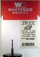 Whiteside Router Bits RU1600 Standard Spiral Bit with Up Cut Solid Carbide 1/8-Inch Cutting Diameter and 1/2-Inch Cutting Length