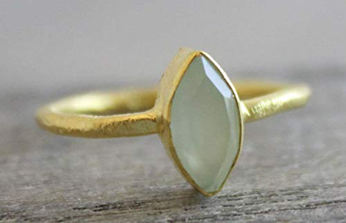 - Marquise Aqua Chalcedony Gold Plated Sterling Silver Ring size 7