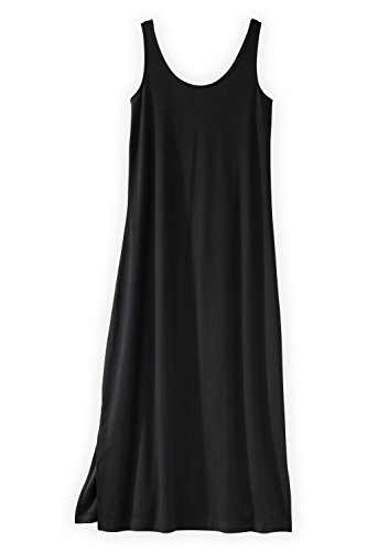 Fair Indigo Fair Trade Organic Maxi Tank Dress (XL, Black) ()