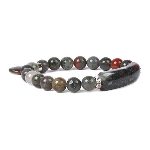 (Natural African Bloodstone Gem Semi Precious Gemstone Love Heart Charm Stretch Bracelet)