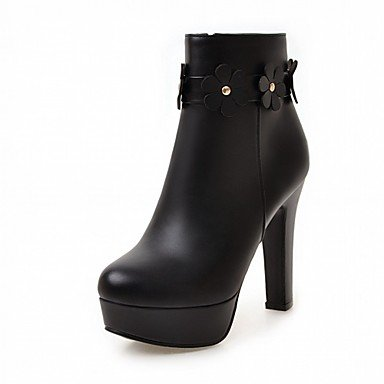 RTRY Zapatos De Mujer De Piel Sintética Pu Novedad Moda Otoño Invierno Confort Botas Botas Chunky Talón Puntera Redonda Botines/Botines De Flores Por Parte &Amp; US9 / EU40 / UK7 / CN41