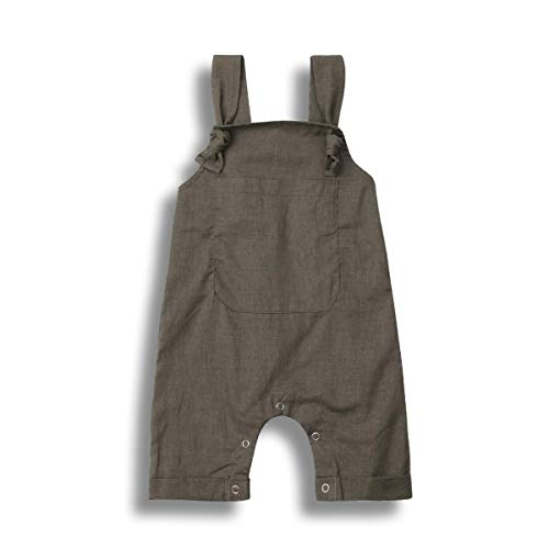 Newborn Baby Boy Girl Clothes Sets Cotton Linen Blend One Piece Sleeveless Bodysuit Jumpsuit Summer Outfits (Grey, 2-3T)
