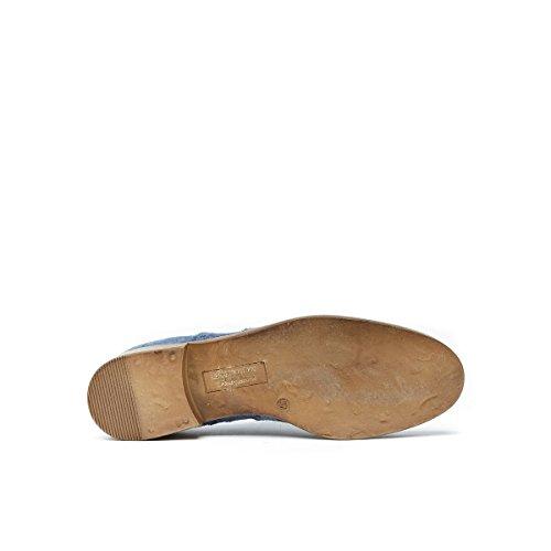 de Cordones Frank Mujer Piel Para Daniel Azul Zapatos Oxford Denim de Rqq4IHtw