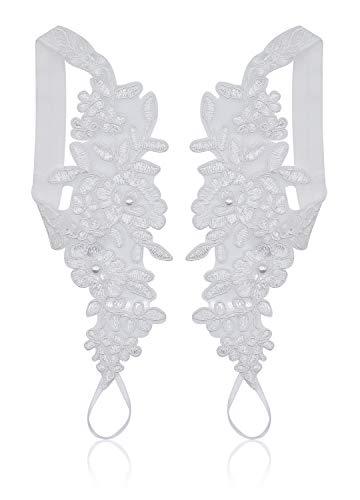 (Bellady Lace Anklets Wedding Barefoot Sandals Prom Party Bangle Crochet Barefoot Sandals Lace Anklets,White_Style 1)