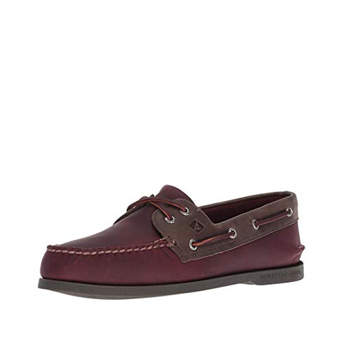 SPERRY Men's A/A/O 2-Eye Pullup Boat Shoe, Burgundy/Grey, 12 M ()