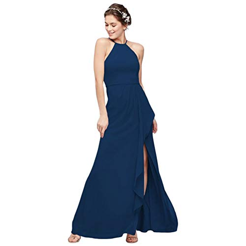 High-Neck Chiffon Bridesmaid Dress with Cascade Style F20014, Marine, 14
