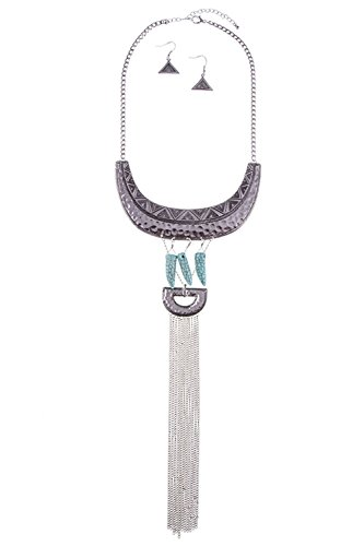 GlitZ Finery TRIBAL PATTERN LINK DANGLE GEM ACCENTED CHAIN TASSEL NECKLACE SE (Burnished Silver)