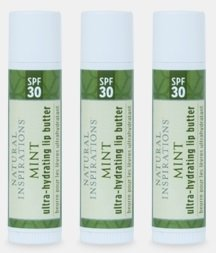 Natural Inspirations Ultra Hydrating SPF 30 Lip Butter 3 Piece Set - Mint by Natural Inspirations