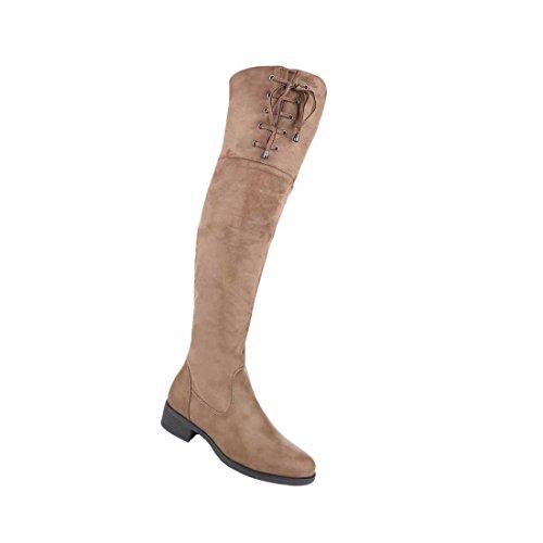 Damen Overknee Stiefel Schuhe Mit Reißverschluss Schwarz Grau Beige 36 37 38 39 40 41 Beige