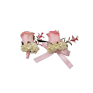Abbie Home Real Touch Prom Corsage Boutonniere Set Flower Pin Wristlet for Party-Pink 2