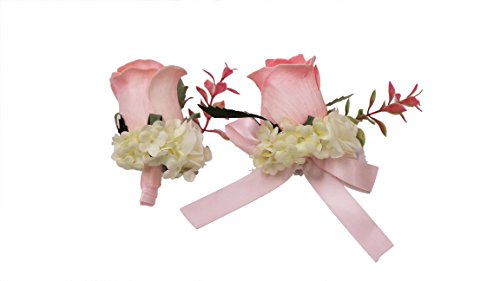 Abbie-Home-Real-Touch-Prom-Corsage-Boutonniere-Set-Flower-Pin-Wristlet-for-Party-Pink