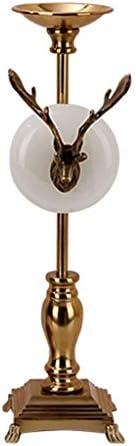 燭台ローソク足キャンドルホルダー アメリカのクリエイティブホーム高級金属鹿ヘッドテーブルレトロ燭台装飾リビングルームダイニングルーム装飾 燭台ローソク足キャンドルホルダー (サイズ : 14*48CM)