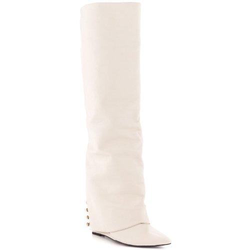 Londen Trash Solange Lederen Sleehak Knieboordjes Wit