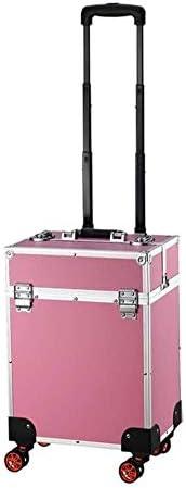 ポータブル美容メイクアップ美容トロリーケース-Rollingトロリー美容トレインケース化粧箱高級レザーを運びます 0921 (Color : Black)