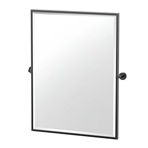 Gatco 4249MXFS Large Framed Rectangle Pivot Mirror, 32.5 Inch, Matte - Black Mirrors Bathroom Tilt