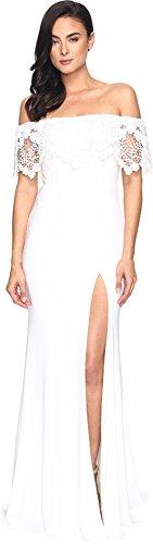 Faviana Women's Jersey Off Shoulder w/ Lace Band S7937 Ivory Dress