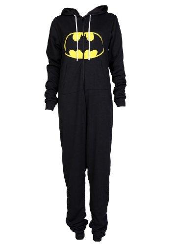 Fashipap Womens Ladies Superman Batman Logo Print Ladies Hoody Jumpsuit Onesie Lounge Wear (M/L-US(10-12))