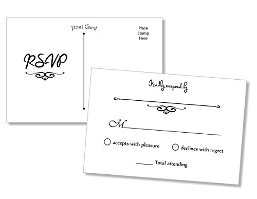 50 RSVP Postcards (Thick Card Stock) - Any Occasion - Response Card, RSVP Reply, RSVP for Wedding, Rehearsal Dinner, Baby Shower, Bridal Shower, Birthday, Engagement, Bachelorette Party -
