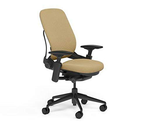 Steelcase Leap Desk Task Chair in Buzz2 5G52 Barley Fabric – 4-Way Highly Adjustable Arms – Black Frame and 7″ Tall Seat Height Base – Soft Dual Wheel Hard Floor Casters