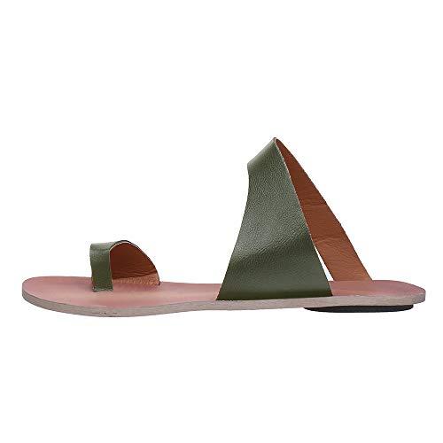 YANG-YI Deal, Women Flip Flop Sandals Thongs Toe Ring Flat Beach Shoes Summer Special Design Slippers Green