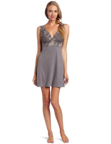 Natori Women's Zen Floral Chemise Nightgown, Heather Grey, XX-Large (Floral Zen Chemise)
