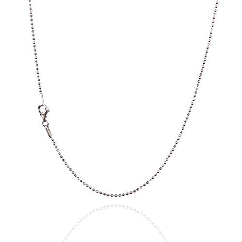 925 Sterling Silver 1.20 mm Smooth Bead Chain Necklace with Pear Shape Clasp-Rhodium Finish