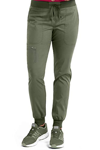 Med Couture Touch Women's Jogger Yoga Scrub Pant, Olive, X-Small Petite