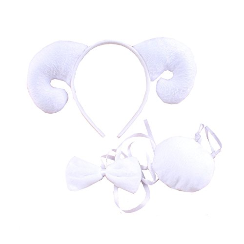3PCS Animals Cute Headband Party Costume, Ear with Tail Tie (Sheep)]()